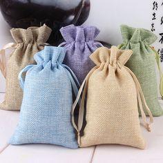 5 unids Jardín Tela De Lino Yute bolsos de Lazo de Regalo bolsos del paquete Bolsas De Arpillera con Cordón De Nylon Reutilizable Natural decoración del hogar