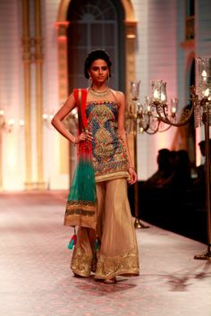 #Desi #Gharara Suit by former Model http://www.MandiraWirk.in/at India Bridal Week 2013
