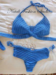 Items similar to Crochet swimsuit bikini top crochet bikini swimwear hand made custom size and color mercerized cotton on Etsy Crochet Lace Edging, Diy Crochet, Bikini Modells, Bikini Tops, Crochet Bikini Top, Crochet Shirt, Crochet Clothes, Swimsuits, Slip Stitch