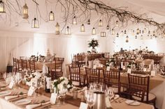 Winter, wedding marquee... twigs, lanterns, wooden planks, mercury etched stemmed bowl!