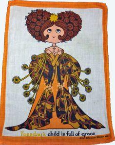 Tuesdays Child Vintage Tea Towel