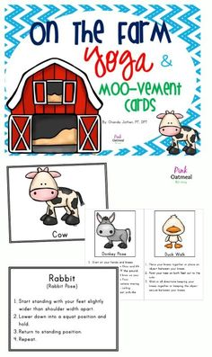 Farm Themed Yoga and Animal Movement Cards and Printables.  Perfect for brain breaks, centers, SPED, PE, and therapies!