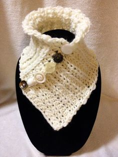 Hand Crocheted Cream White Neck by TwistedTatters on Etsy
