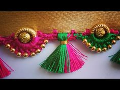ಸೀರೆ ಕುಚ್ಚು tassels with beads designs tutorial for bignners.learn with me Blouse Designs High Neck, Cutwork Blouse Designs, Kids Blouse Designs, Hand Embroidery Designs, Hand Designs, Saree Kuchu New Designs, Saree Tassels Designs, Mehndi Designs, Phulkari Embroidery