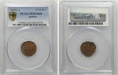 5/10 Kreuzer 1858 A, Wien PCGS:MS64RB Joseph, Old Coins