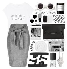 """Say What: Statement T-Shirts"" by palmtreesandpompoms ❤ liked on Polyvore featuring H&M, Givenchy, NARS Cosmetics, Forever 21, MANGO, River Island, Noir, Byredo, The Fine Bedding Company and Dollydagger"