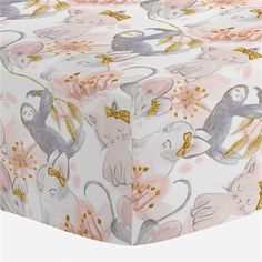 """Crib Fitted Sheet in and Pink and Gray Sloth by Carousel Designs. Our fitted crib sheets feature deep pockets and have elastic all the way around the edges to hug mattresses securely. Fits standard crib mattresses, measuring approximately 28"""" x 52""""."""