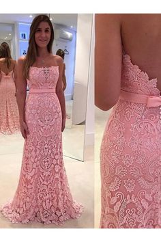 f0051283662b Hot Sale Bowknot Pink Evening Prom Dresses Excellent Long Strapless  Sleeveless Open-back Dresses WF02G58