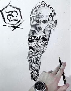 Chicano Tattoos Sleeve, Best Sleeve Tattoos, Skull Tattoos, Tatoos, Neck Tattoo For Guys, Hand Tattoos For Guys, Inner Bicep Tattoo, Forearm Tattoos, Half Sleeve Tattoo Stencils