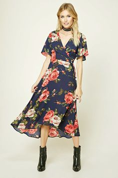 Forever 21 Contemporary - A woven midi dress featuring an allover floral print, a wrap style with a surplice neckline, short bell sleeves, and a high-low hem.