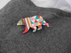 Geometric Bear Brooch Neon 'Harlequin Bear'