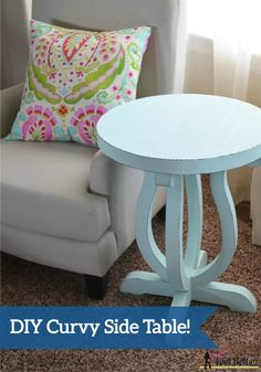 Updating your home for spring? Try making this DIY Curvy Side Table and painting it a bright pastel color for a new piece of home decor.