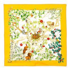 Hermès Au Coeur des Bois silk scarf