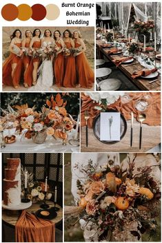 Boho Wedding / Burnt Orange color scheme / Terra cotta and rust colors / Wedding mood board by Purple Tulip Weddings / 2020 wedding trends Burnt Orange Weddings, Orange Wedding Colors, Fall Wedding Colors, Burgundy Wedding, Wedding Color Schemes, Autumn Wedding Ideas October, Fall Wedding Themes, October Wedding Colors, Wedding Navy