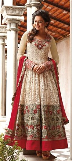 411257: Pink and Majenta color family unstitched Anarkali Suits.