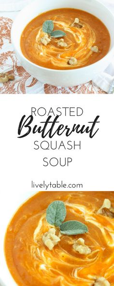 A healthy and delicious vegetarian butternut squash soup that's packed with roasted veggies and perfect for a cozy fall lunch or dinner! (gluten-free, vegan) via livalytable.com