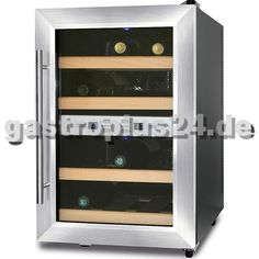 Edler Weinkühlschrank mit Glastür und blauer Beleuchtung, für 12 Weinflaschen…