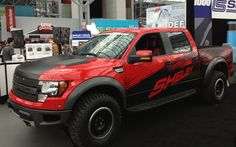 Ford updates its off-road icon with a lighter-weight aluminum body, a new twin-turbo engine, and burlier shocks! Read more and see photos at Car and Driver. Shelby Raptor, Raptor Truck, Svt Raptor, Ford Raptor, Ford Svt, Ford Shelby, Lifted Trucks, Pickup Trucks, Ford Lightning