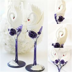 White Purple Wedding champagne glasses Champagne by JewelryBouquet