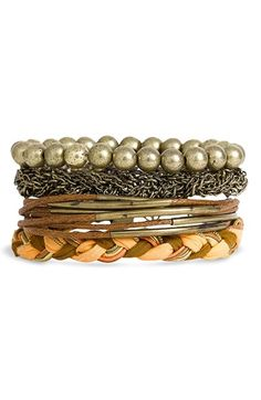 Stephan & Co. Mixed Media Bracelets (Set of 4) at Nordstrom.com. Beads, woven chain, thread and braided fabric style a set of four mix-and-match bracelets.