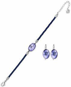 Swarovski Palladium-Plated Tanzanite Crystal Drop Earrings and Purple Braided Leather Bracelet