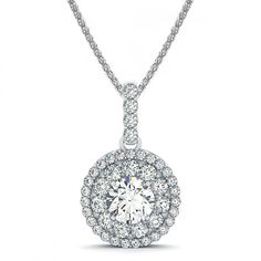 .89ctw Vintage Double Halo Round Diamond Pendant Necklace Setting in Platinum