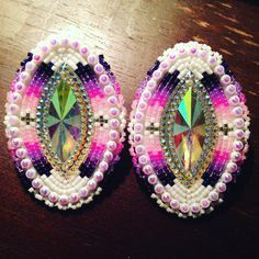 Native beaded pink and purple earrings my favourite ones I've made