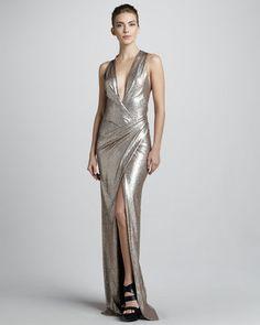 Donna Karan Metallic Plunging-Neck Evening Gown Donna Karan