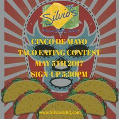Get ready for #SilviosBBQ #Taco eating #Contest How many #Tacos can you eat in 10 min.? Win a $50 G/C  a Silvio's BBQ T-Shirt $3 #Tecate #Mexican #CraftBeer $7 Special #CincodeMayo #HermosaBeach #EatTacos #LATacos #GrilledTacos #TriTipTacos #BBQChickenTacos
