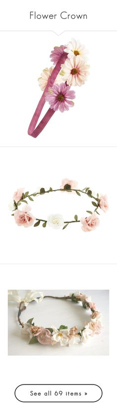 """Flower Crown"" by puddingpoppanda ❤ liked on Polyvore featuring accessories, purple, hair accessories, hair, hats, headbands, flower garland headband, floral crowns, head wrap headband and leaf garland"