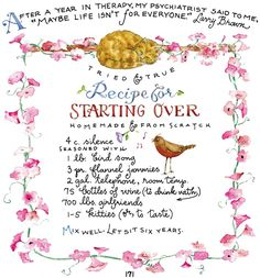 Recipe for Starting Over from Susan Branch <3