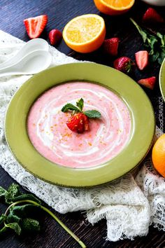 Strawberry Soup infused with coconut and vanilla yogurts is silky, sweet and creamy all made in your blender! This chilled Strawberry Soup recipe is wonderfully refreshing and makes a fabulous make ahead dessert or side! Easy Summer Meals, Summer Recipes, Summer Days, Healthy Summer, Quick Meals, Coconut Soup Recipes, Vegetarian Recipes, Chilli Recipes, Blender Recipes
