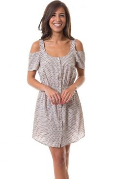Round neck short sleeve fan print button down dress featuring elastic waist and shoulder cutouts. Cute casual dress that will look good with some interesting sandals. $9.95
