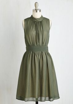 Windy City Dress in Green Dots. Cause a chic scene down the Magnificent Mile in this fern green frock - a ModCloth exclusive! #green #modcloth