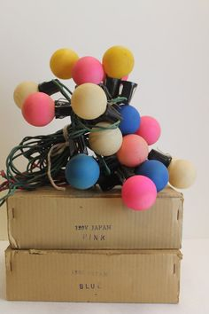 Vintage Bubble Gum Pink and Blue Round C-7 Light Bulbs by MyBarn