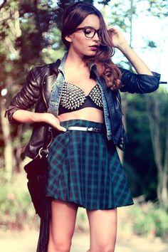 #spike #plaid #skirt #jacket #jeans #mix #alanaruas