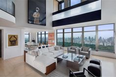 Elegant And Modern Duplex Penthouse In Park Laurel Condominium, Manhattan 1 - home me Style At Home, Central Park, Penthouse Apartment, Manhattan Penthouse, Living Room Sectional, Sectional Sofa, Duplex, Beautiful Living Rooms, Condominium