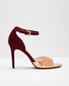 Open toe leather sandals - Rose Gold   Shoes   Ted Baker