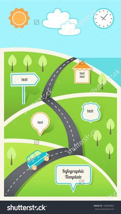 Travel Holiday Road Map  Trip Stock Vectors Vector Clip Art Shutterstock Infographic Template Eps