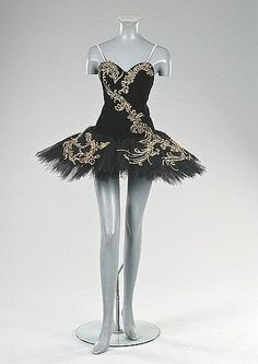 The black velvet and tulle tutu worn by Margot Fonteyn for Swan Lake, designed by Leslie Hurry, in the role of Odile, Act III, the Royal Opera House