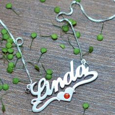 Sterling Silver Middle Heart Name Necklace with Swarovski Crystal