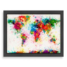 Map of the world map abstract painting canvas art a3 to a1 v183 americanflat world map splatter colour wall art publicscrutiny Image collections