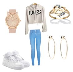 """Day at school"" by queen-of-spadesxoxo on Polyvore featuring New Look, NIKE, Palm Beach Jewelry and Bebe"