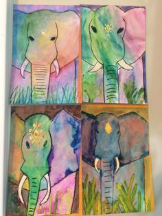 Indian elephants-4th grade watercolor- from Teresa's smARTies.