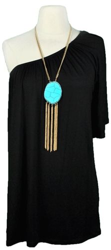 love the statement necklace and one shoulder dress
