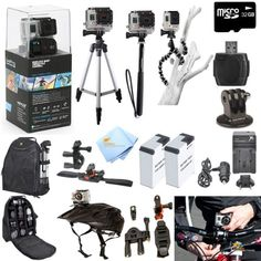 GoPro Hero3+ Black Edition ATV/Bike/Helmet Kit: Kit Includes Pro Series All In 1 ATV/Bike Kit + 50' Tripod + 27' Monopod + Gripster + 32GB Micro SD Card + Mount Adapter + 2 Extended Batteries with Charger + Deluxe Camera Backpack and a Global Distributions Cleaning Cloth (Helmet Not Included) Global Distributions   $579.00 + $3.99 shipping
