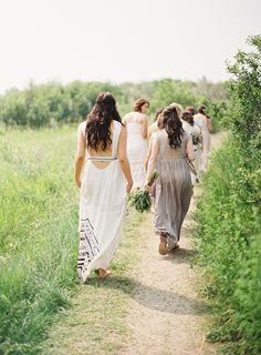 Unique Outdoor Wedding with DIY Details via oncewed.com #wedding #bride #bridesmaid #neutrals #diy #bohemian