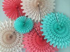 Tissue Paper Fans 5 Pom Wheels Dessert Cocktail by prosttothehost