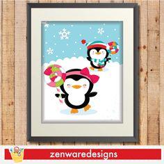 Penguin Wall Art 6 - playful, happy penguins wall art printable.