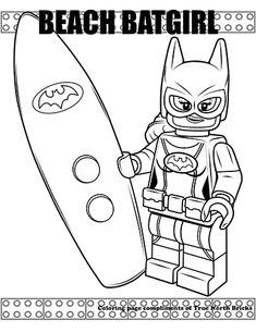 Beach Batgirl Minifigure coloring page from True North Bricks. Ninjago Coloring Pages, Penguin Coloring Pages, Batman Coloring Pages, Frozen Coloring Pages, Preschool Coloring Pages, Doodle Coloring, Colouring Pages, Coloring Book, Batman Comic Art